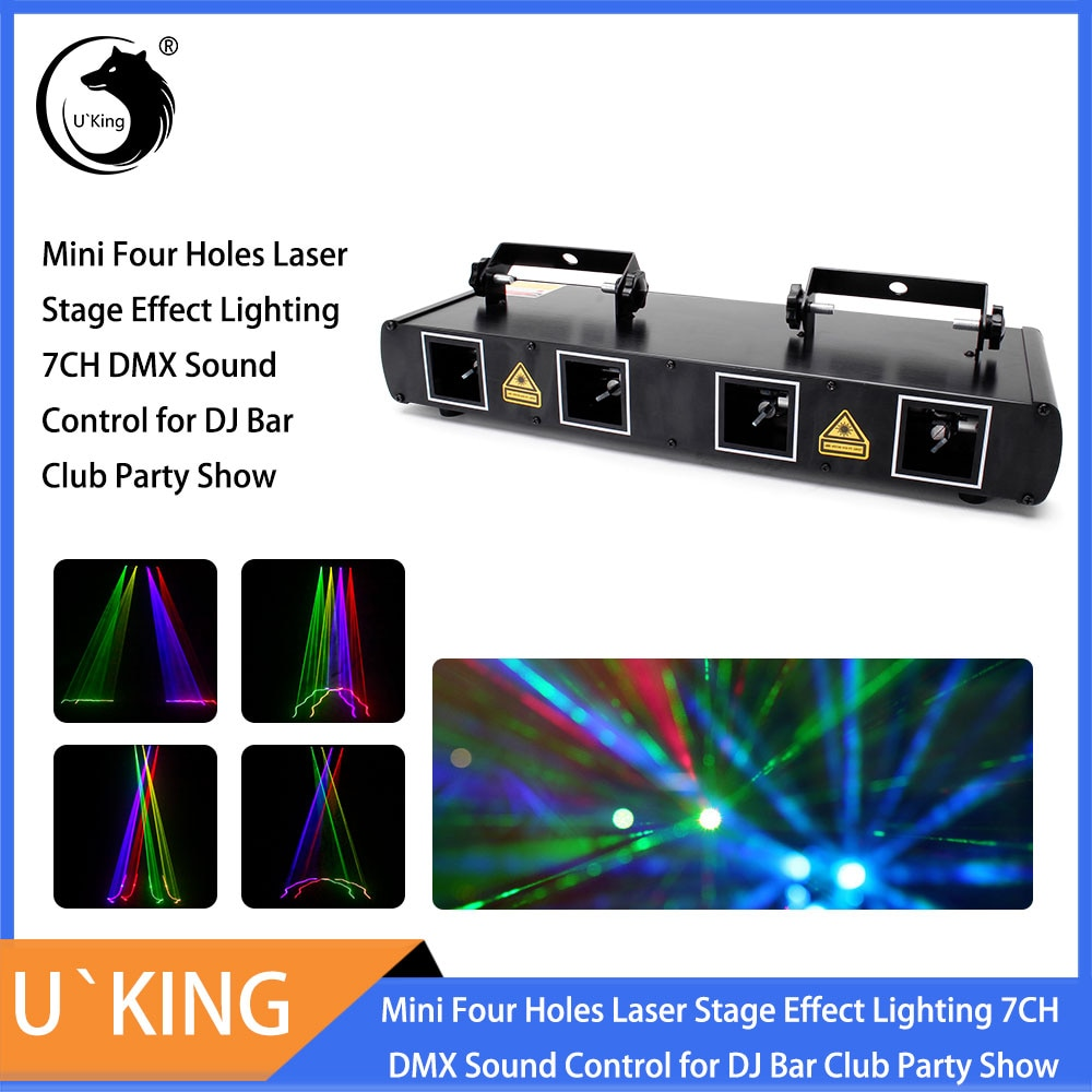 U'King 100 أنماط صغيرة أربعة ثقوب ليزر المرحلة تأثير الإضاءة 7/11CH DMX التحكم الصوتي ل DJ بار نادي عرض الحفلات