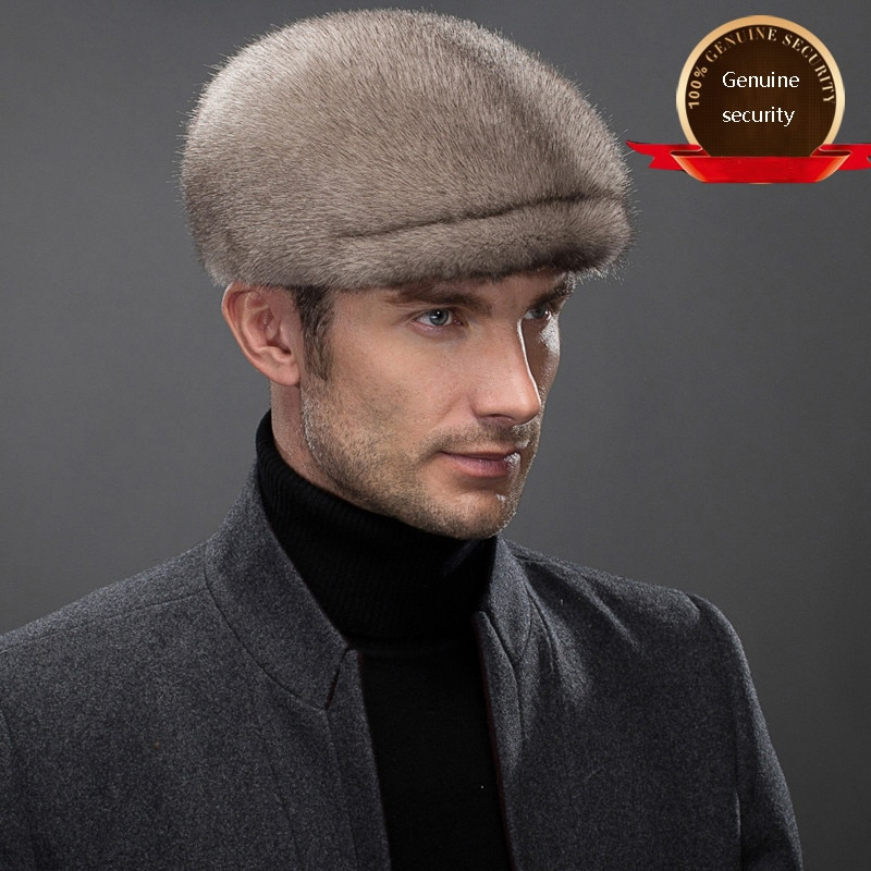 New Mink Hat Men's Winter Ear Protection Cap Middle-aged And Elderly Mink Fur Warm Baseball Cap Outdoor Hat