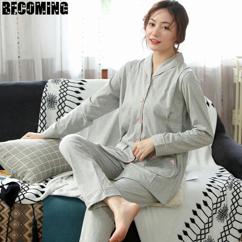 Maternity Nightgown Pregnant Clothes Sleeping Big Autumn Loungewear Maternity Nightwear Postnatal Women Robe Nursing Pajamas Set enlarge