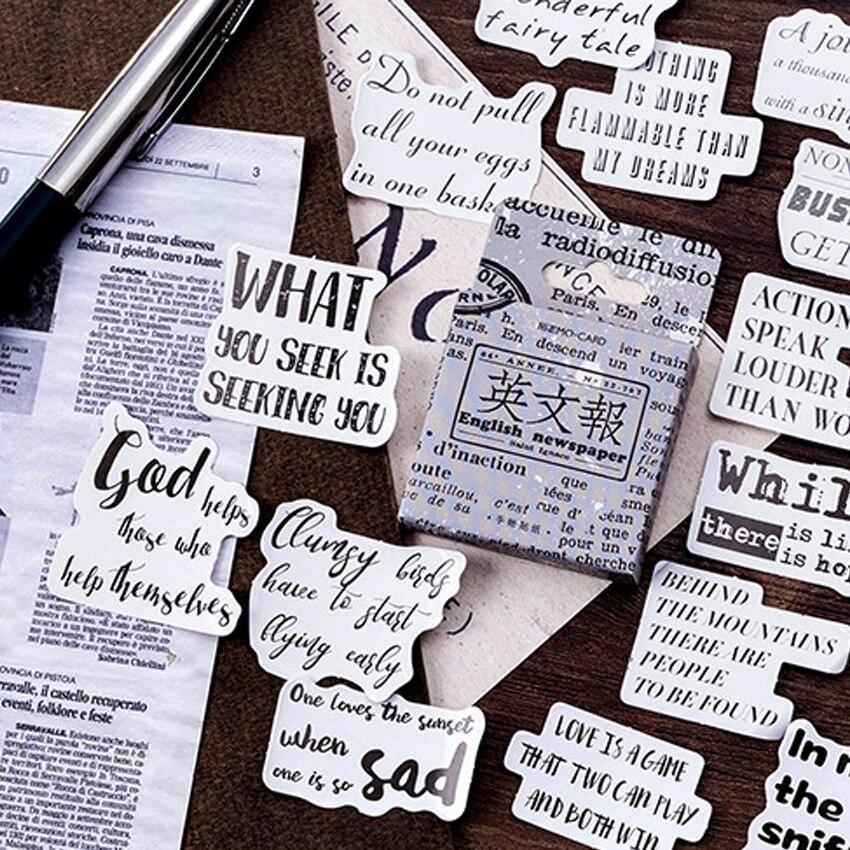 Adesivos artesanais de livro de recortes, 46 pçs/caixa, diy, etiqueta do livro de mão, letra, diário, diy