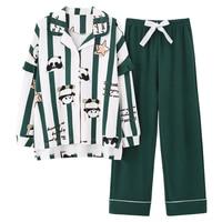 Nanjiren Spring Pajamas Women\'s Long-Sleeved Cotton Striped Cute Panda Girl Student Homewear Suit Autumn and Winter