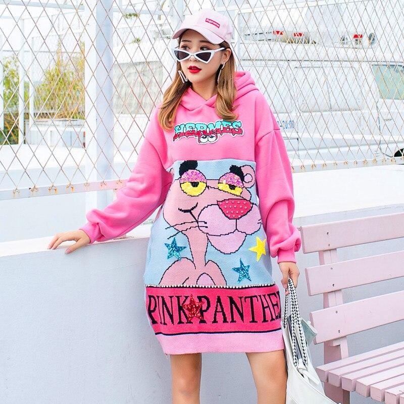 Женский уличный свитер с капюшоном, толстый свитер с вышивкой бисером и блестками, Осень зима
