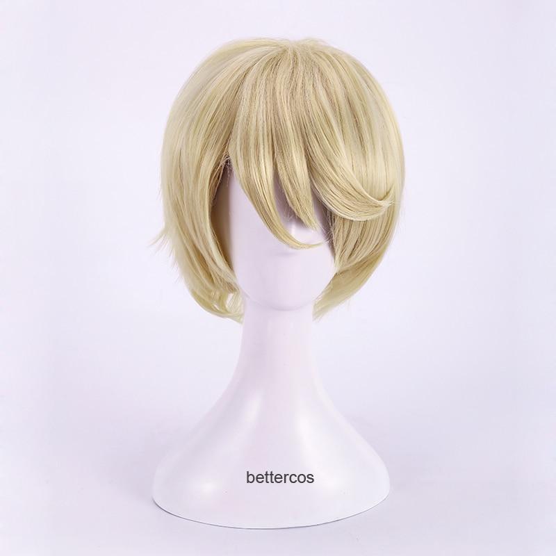 Black Butler Alois Trancy Cosplay Wig Short Blonde Heat Resistant Synthetic Hair Wig + Wig Cap