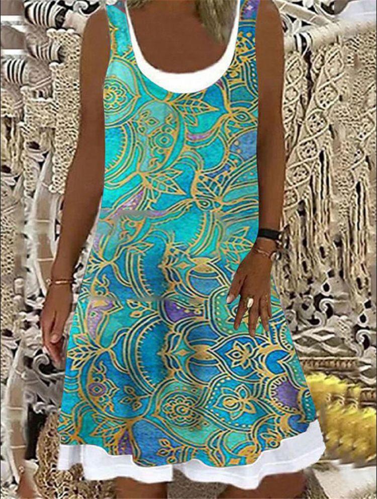 Vestido corto informal de verano con estampado Floral y cuello redondo, minivestido Sexy para mujer, en la playa para fiesta, talla 3XL
