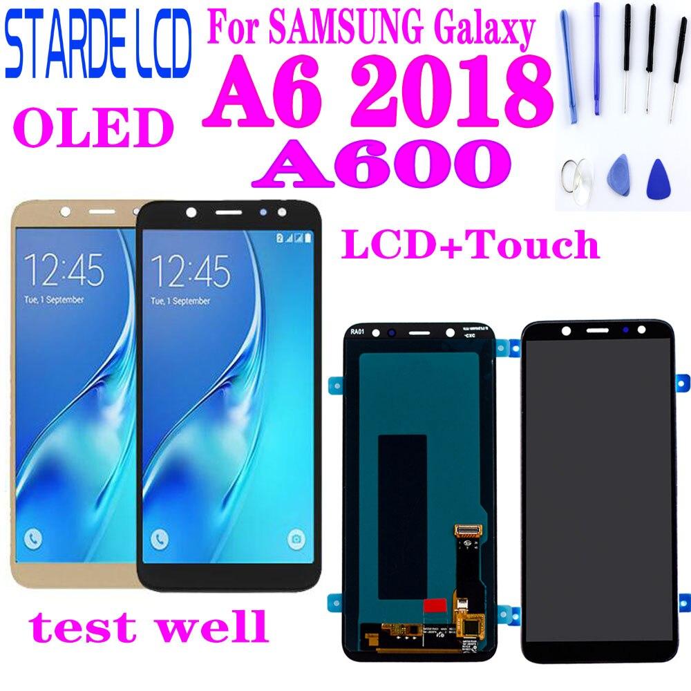 لسامسونج غالاكسي A6 2018 A600 LCD عرض تعمل باللمس محول الأرقام الجمعية OLED جودة A6 A600F A600FN LCD