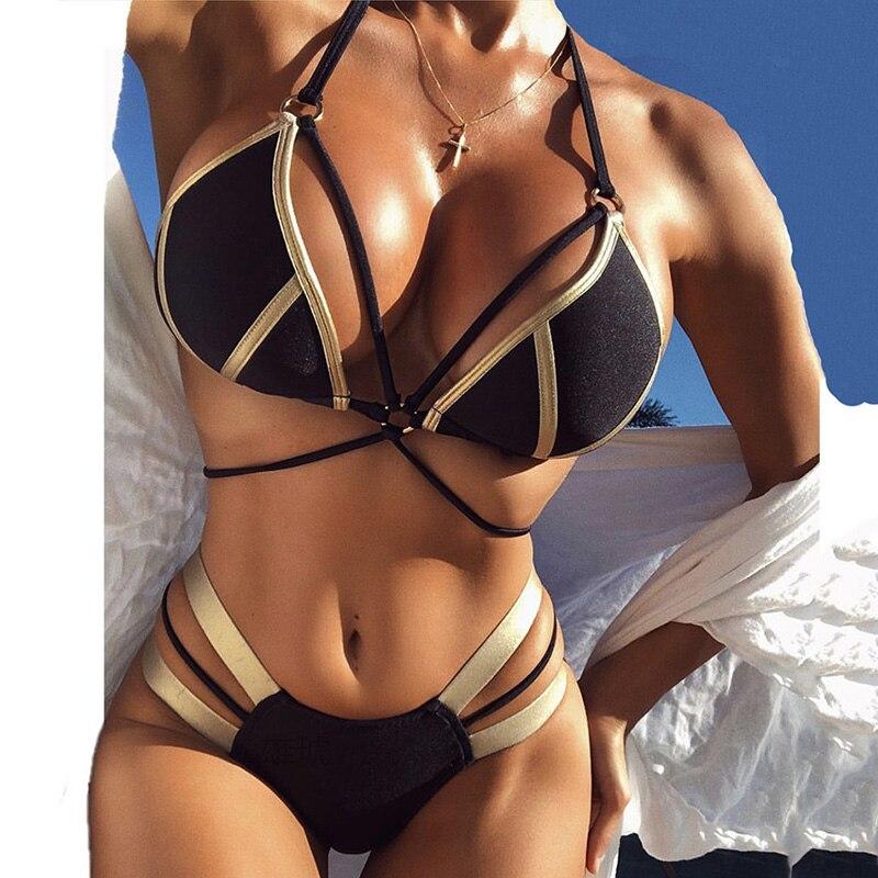 Bikini de cuerda Push Up 2020 Sexy bañador cabestro bronceado traje de baño femenino traje de baño mujeres Bandeau Bikini brasileño conjunto