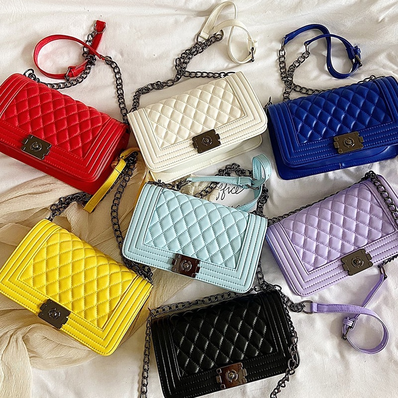 Luxury Brand Designer Femal Chain Shoulder Bag V-Line Lingge Women PU LeatherCrossbody Bags Lock Handbag Messenger Bag 9 Colors