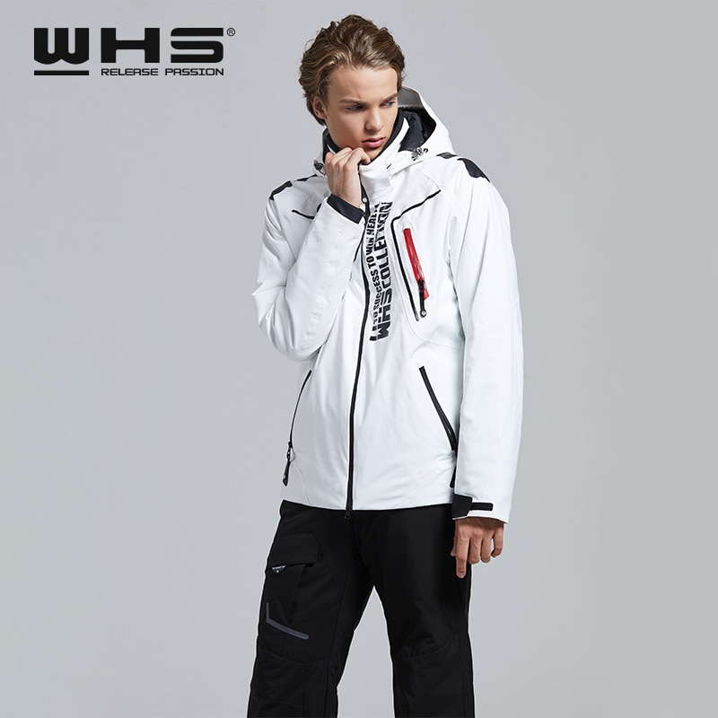 WHS Men's Skiing Jacket Windbreak White Snowfield Heating Coat Comfortable and Soft Waterproof Outdoor Sports