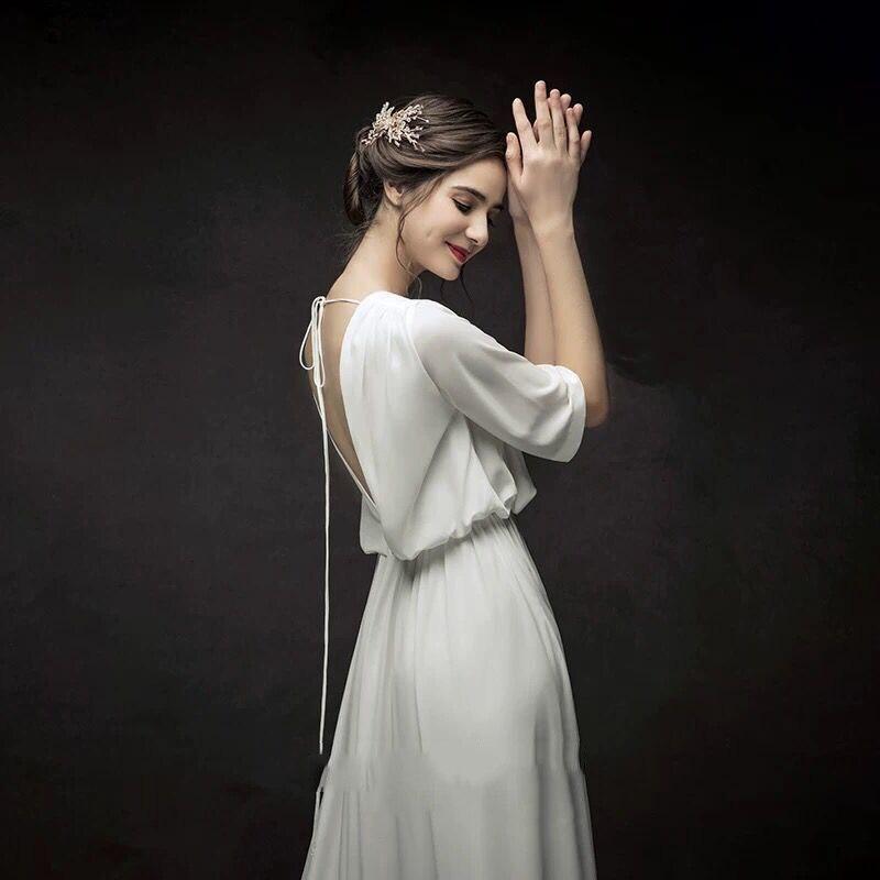 Francés De boda minimalista 2019 Vestido De Novia sin espalda Vestido De...