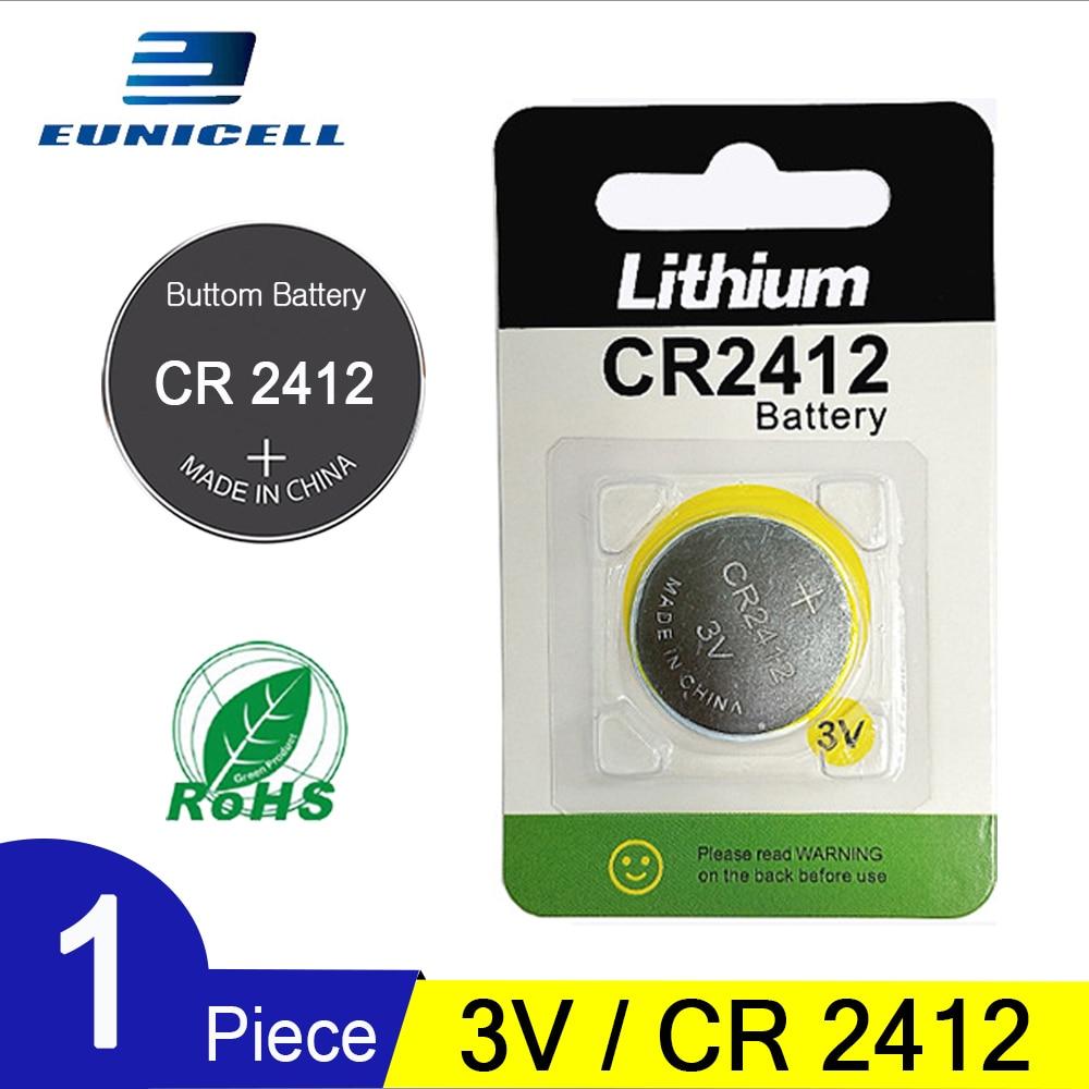 1 шт. Новый Eunicell 3 в 90 мАч кнопочный аккумулятор CR 2412 CR 2412 литиевые батареи для автомобиля контроллер часы брелоки игрушки