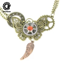 2019 fashion jewelry steampunk gear butterfly necklace metal necklace pendant necklace vintage accessories