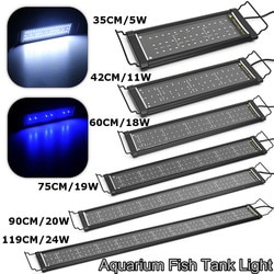 Alumínio + pc 35-119cm led aquário luz tanque de peixes luz com suportes extensíveis branco e azul leds AC110-240V au plug
