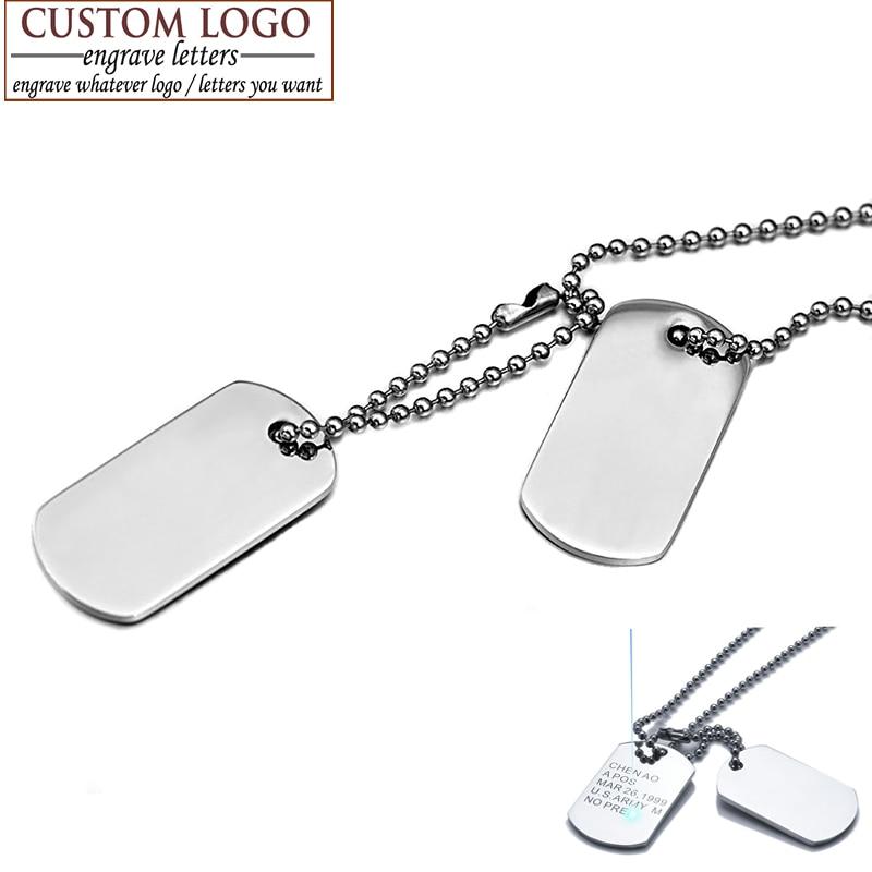 Мужские ювелирные изделия AZIZ BEKKAOUI, ожерелья с кулоном в виде собачьей бирки, подвески из нержавеющей стали, военная армейская бирка, ожерель...