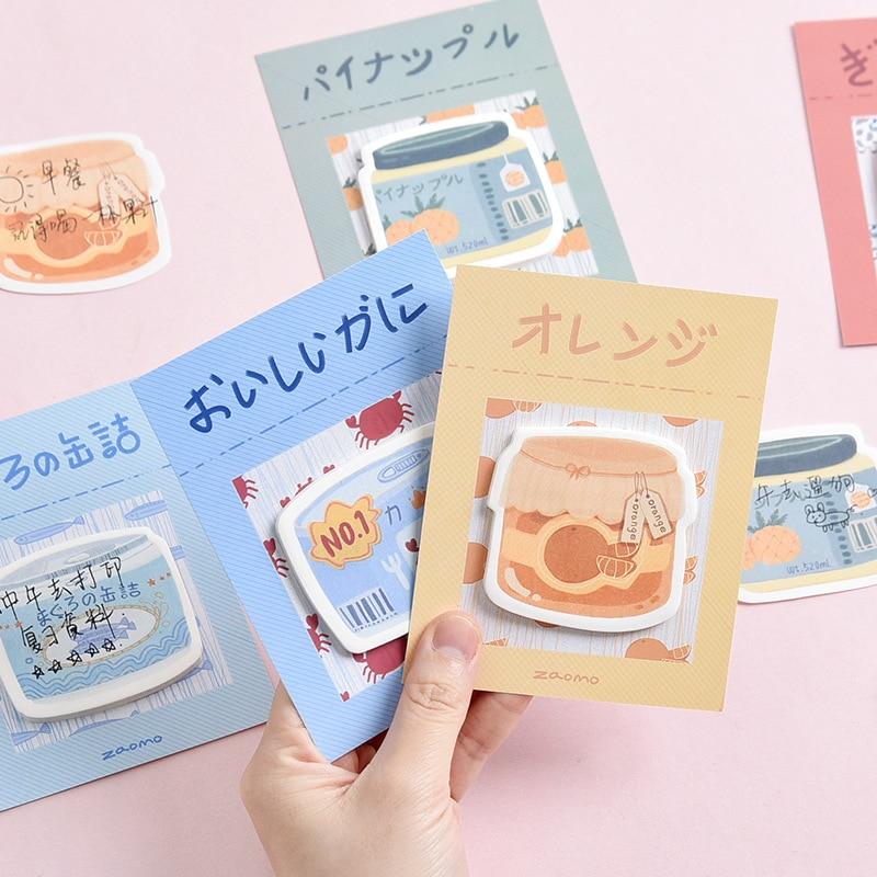 Мультяшные консервированные еды могут быть наклеены клейкие заметки ученический блокнот план заметок офисная декоративная бумага для соо...