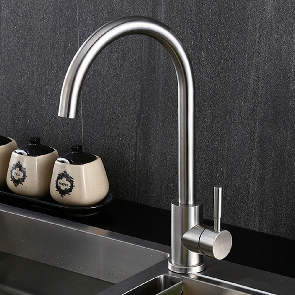 Sianco Rotatable Brushed Stainless Steel Kitchen Faucet Single Hole Cold and Hot Mixer Tap Deck Mounted Sink Faucet SLT005 brushed stainless steel pot filler faucet lead free with dual joint swing arm and aerator surface deck mount kitchen mixer tap