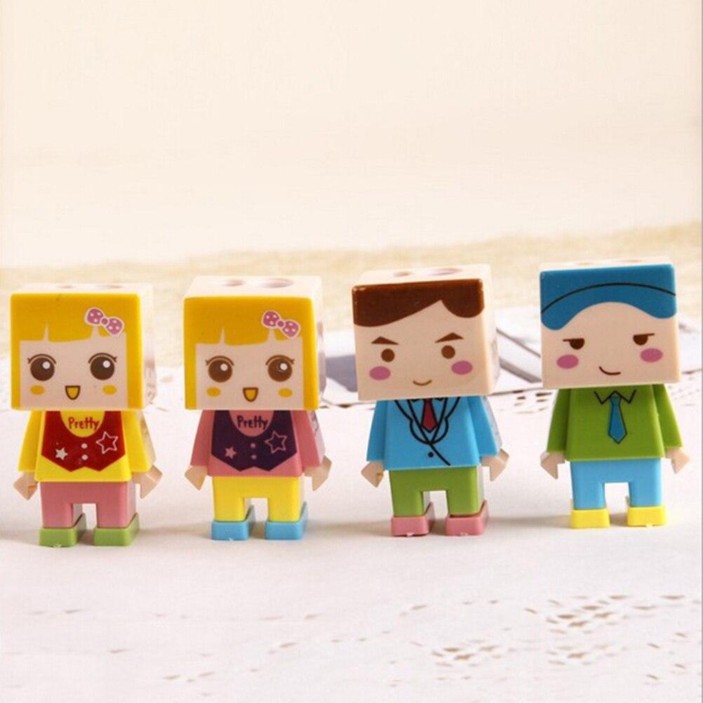 Artículos de papelería para escuela y oficina, juego creativo de sacapuntas con agujeros dobles y diseño de muñeca cuadrada con borrador, premio de regalo para niños