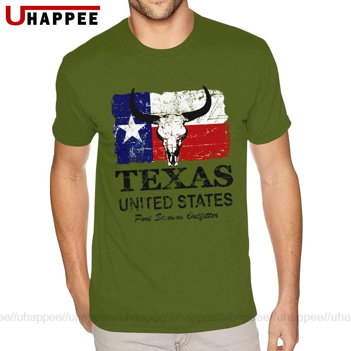 Impresso eua americano texas bull bandeira t-shirts dos homens gráfico personalizado manga curta ultra algodão tripulação camisa