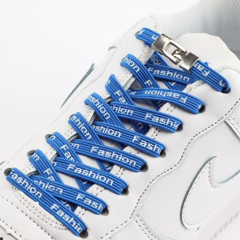 Zapatos de hombre y mujer elástico cordones cerradura de Metal Cruz hebilla plana cordones para perezosos deporte Zapatillas de deporte No atar cordones 1 par