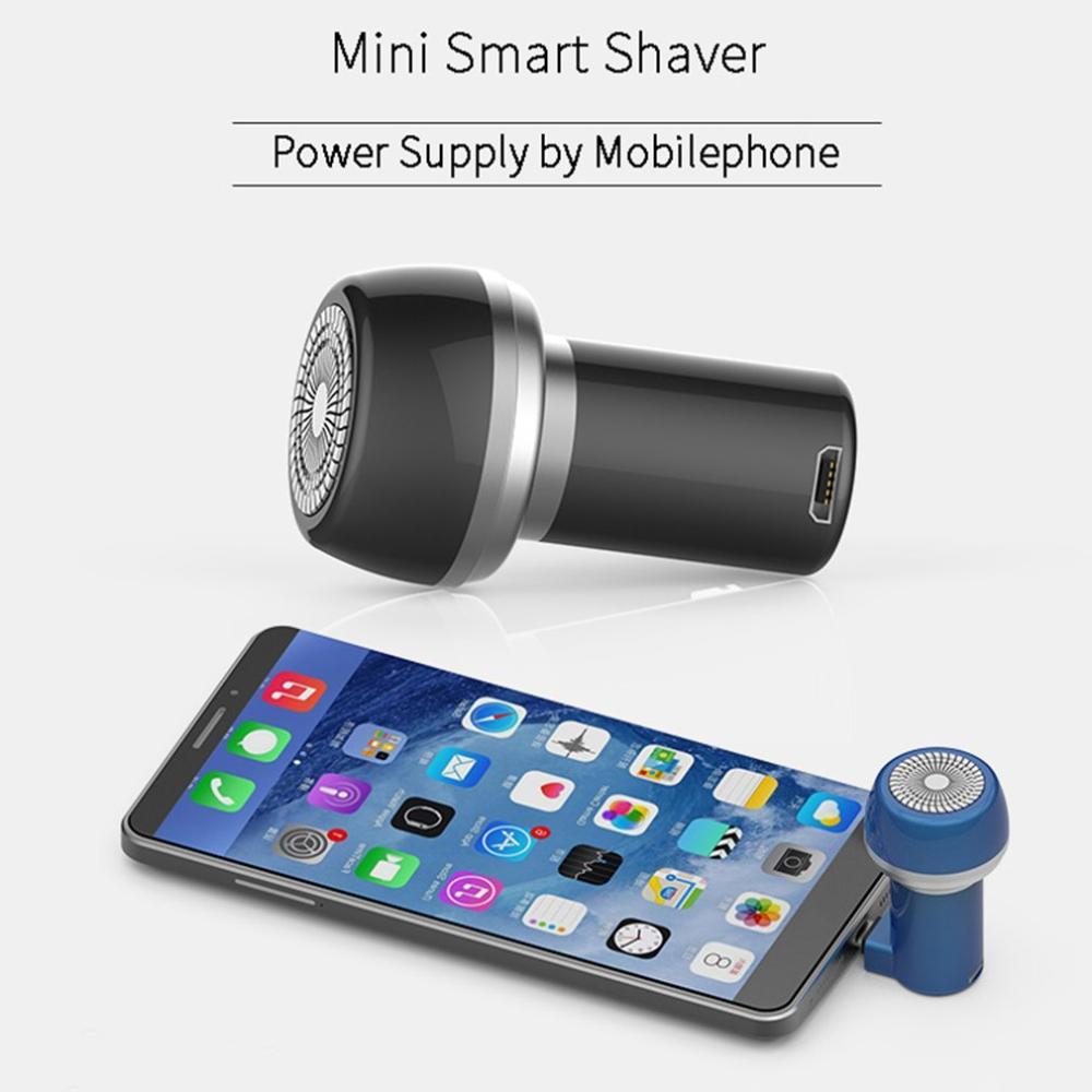 Mini Afeitadora eléctrica portátil para teléfono móvil recargable por USB para hombres, seca y húmeda recortadora de barba, cepillo de limpieza Facial lavable