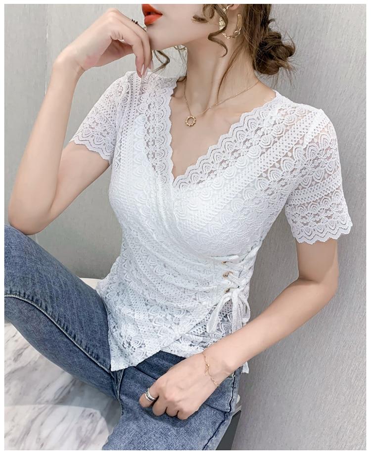 Women Hollow Out Lace Blouse