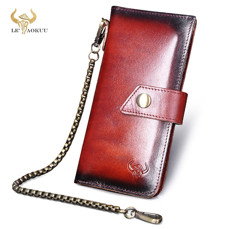 Men Male Real Genuine Leather Coffee Checkbook Business Card Holder Chain Safety Organizer Long  Men