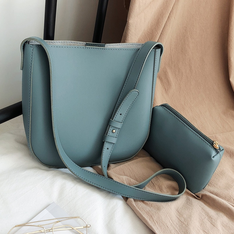 European and American Retro Large-capacity Wide-shoulder Mother and Daughter Bag 2021new Korean Fashion Messenger Bag Bucket Bag