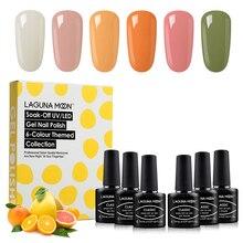 Lagunamoon 6pcs/kit Gel Nail Polish Colorful Orange Pomelo Semi Permanent UV LED Lamp Enamel Lacquer Varnish GelLak Gel Nail Set
