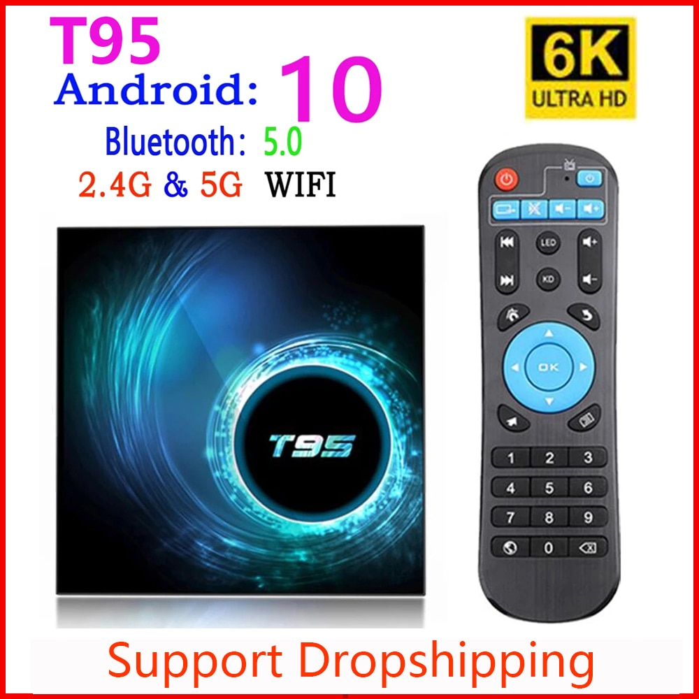 2020 أحدث T95 مربع التلفزيون الذكية أندرويد 10 4k 6k 4g 32gb 64gb 2.4g & 5g واي فاي رباعية النواة فك التشفير مشغل وسائط تي في بوكس PK X96 H96 ماكس زائد