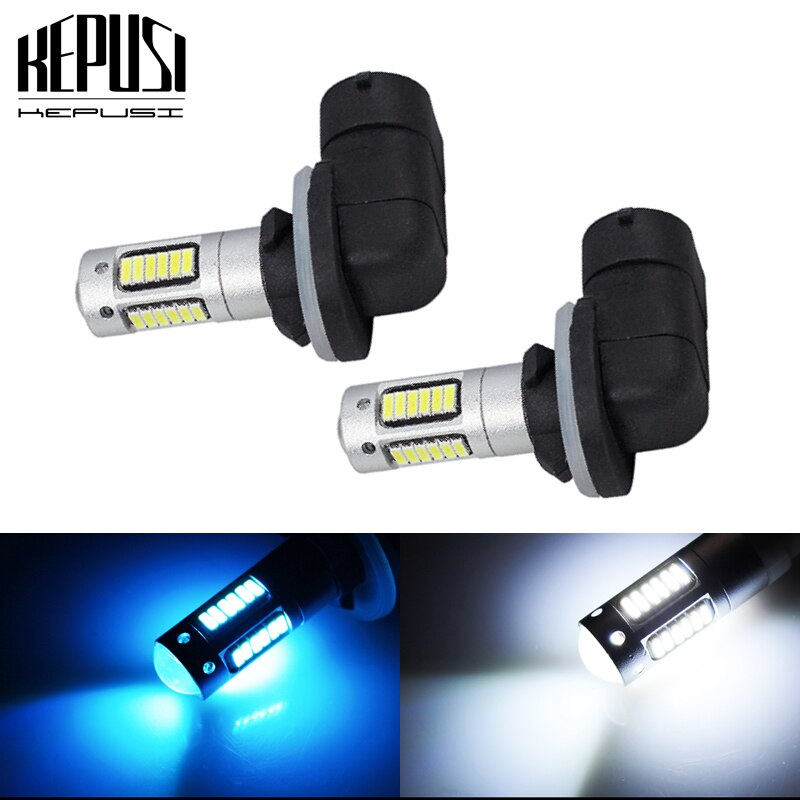 2Pcs 12V Car Fog Lamp H27 881 LED Bulb 4014 SMD 30 LED Auto Fog Lights Daytime Driving Lamp White Ice Blue H27W/2