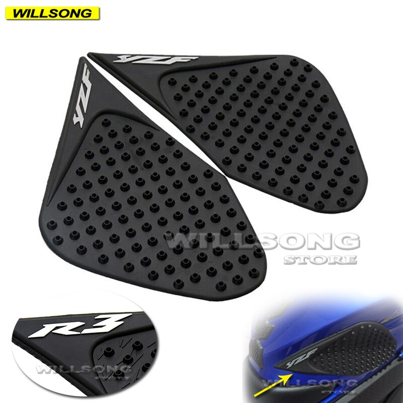 Silica Gel Anti Slip Sticker Tank Pad Side Knee Grip Protector For YAMAHA YZFR3 YZFR25 Motorcycle Accessories