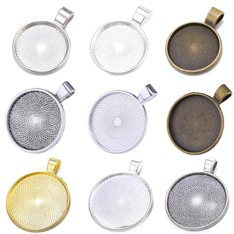 10pcs/lot 20/25/30mm Cabochon Base Pendant Setting Trays For Women Pendant DIY Blank Bezels Jewelry Making Handmade Accessories
