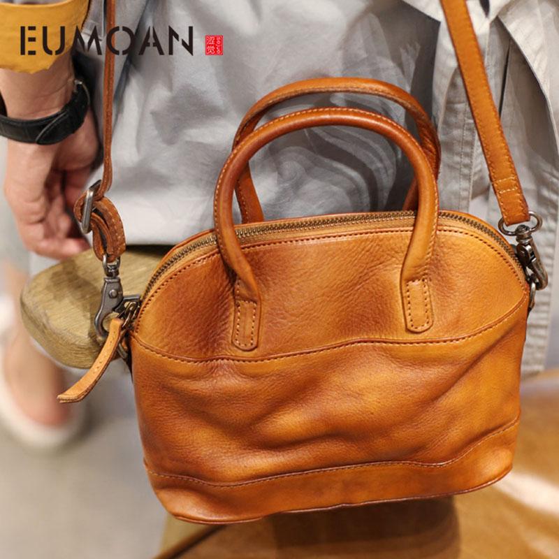 EUMOAN 2020 new retro art handmade cowhide handbag leather shell bag shoulder diagonal cross hand carry carry bag
