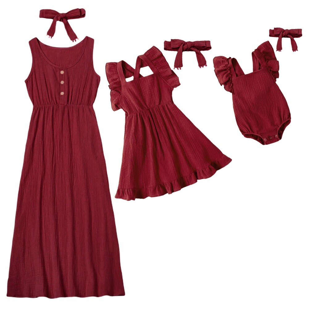 Sleeveless Mother Daughter Summer Solid Color Ruffled Dresses Romper Family Matching Outfits Look Mo