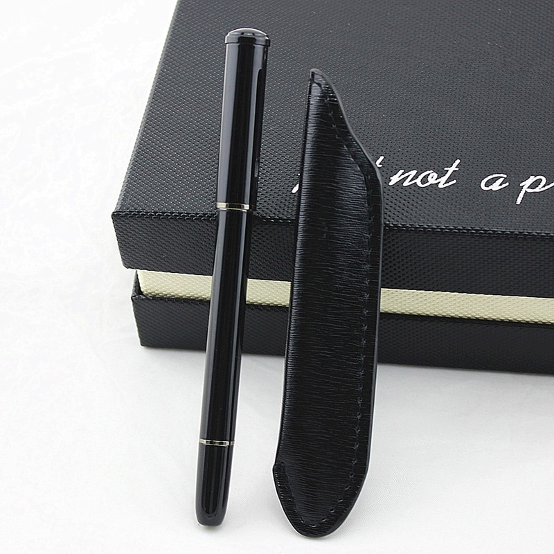 Fashion Leather pencil bag Metal Roller Ball Pens Ballpoint Pen School Office Supplies for Student Writing Stationery Gift stainless steel metal ballpoint pen office school supplies stylus pens writing supplies roller ball point pens nice gift