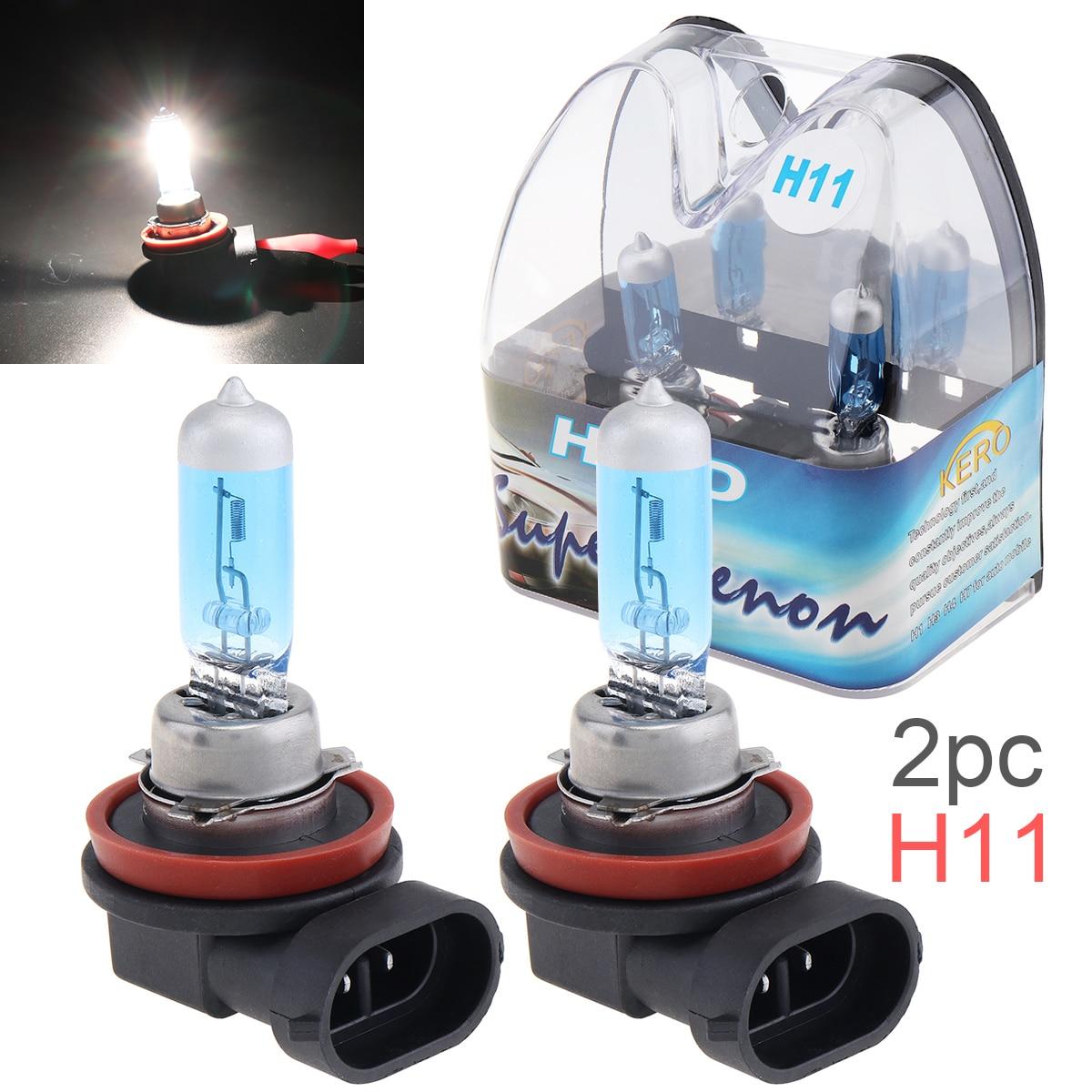 2 uds. 12V H11 55W 6000K luz blanca lámpara halógena de coche súper brillante faro delantero de coche bombilla antiniebla faro de coche para coches