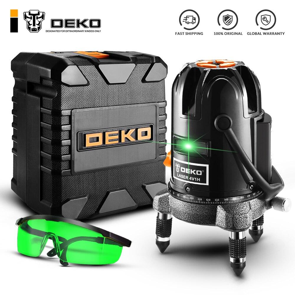 DEKO-ليزر أخضر متعدد الأغراض ، DKLL501 ، 5 خطوط ، 6 نقاط ، وضع الإمالة ، للاستخدام في الهواء الطلق ، يمكن استخدامه مع الكاشف