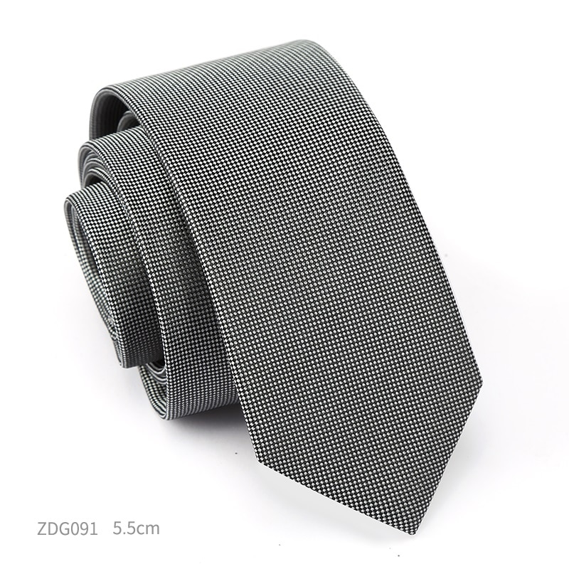 High Quality 2019 New Designers Brands Fashion Business Casual 5cm Slim Ties for Men Necktie Formal Work with Gift Box Gray
