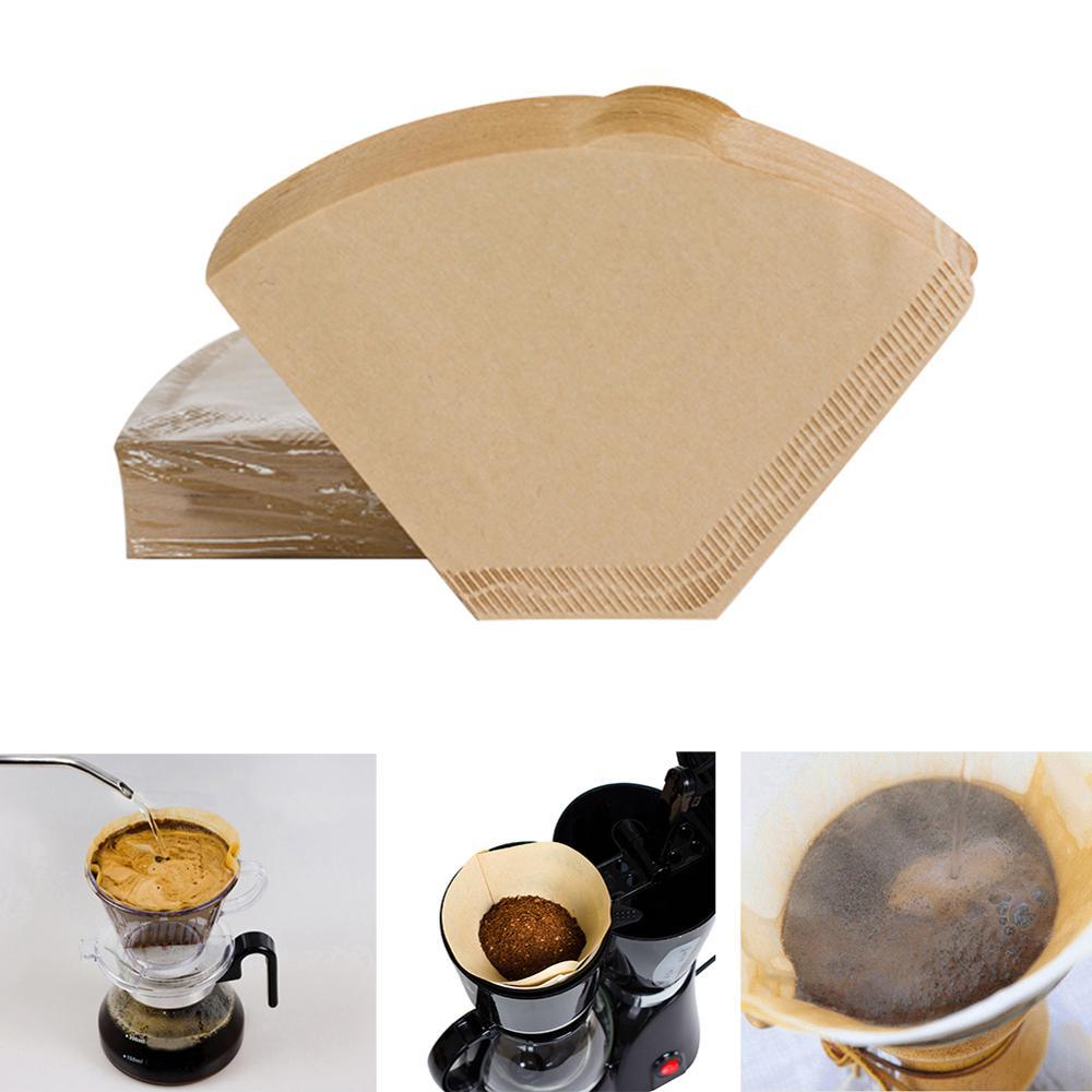 100 piezas ecológico sin blanquear registro Original de madera 102 filtro de café goteo de mano de papel cafetera Accesorios