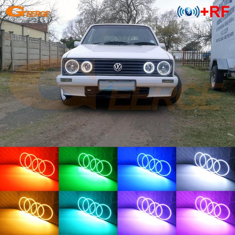 RF remote Bluetooth APP Multi-Color Ultra bright RGB LED Angel Eyes kit For Volkswagen VW Golf Mk1 Mk2 GTI Twin headlight