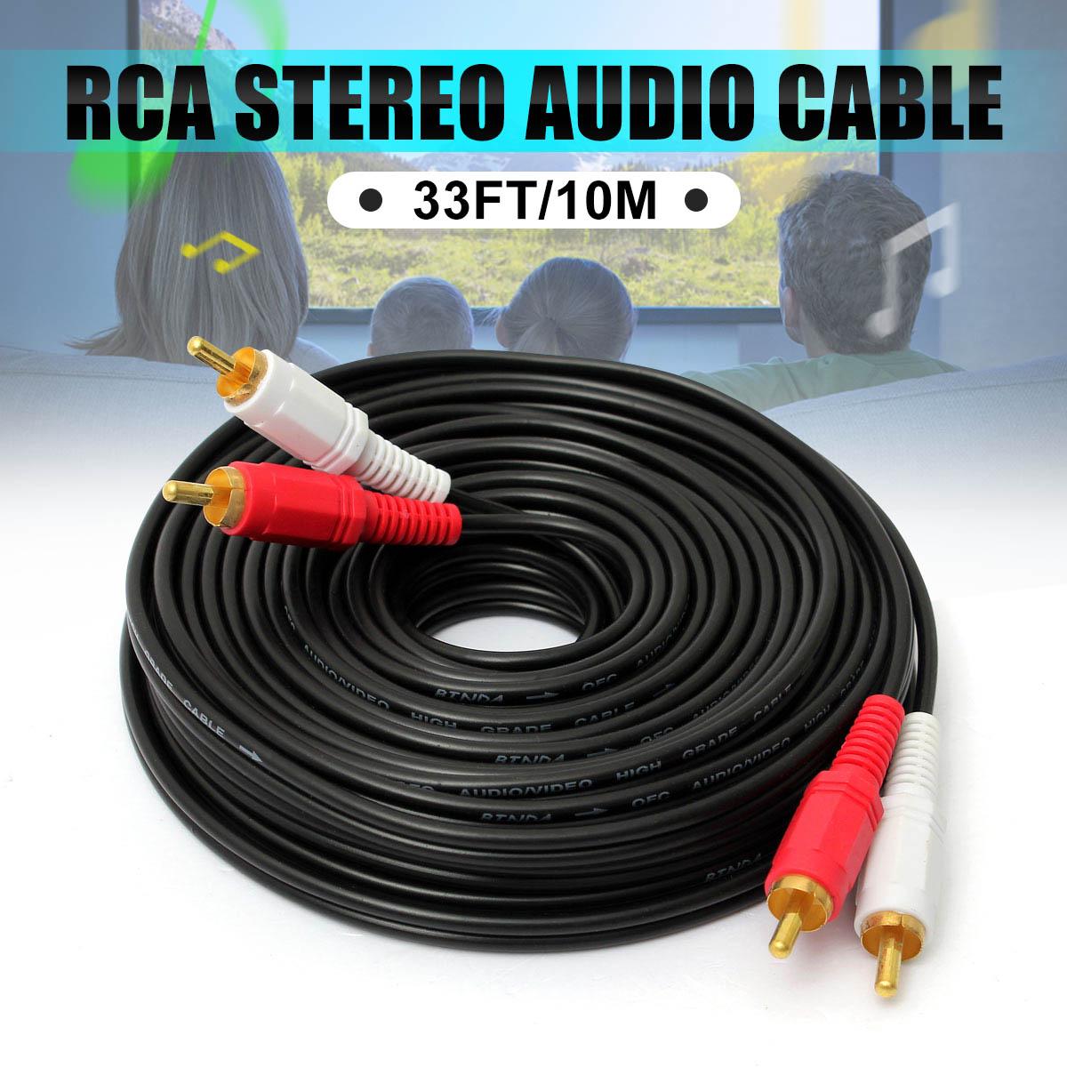 10 m cabo estéreo de alta fidelidade par rca alto-desempenho premium hi-fi áudio 2rca a 2rca interconectar cabo duplo rca macho ao fio masculino