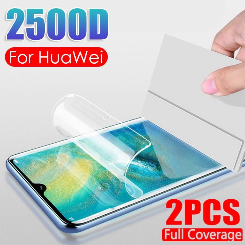 Película completa de hidrogel 2500D para Huawei Honor 8X 9X 8S 20 Pro 20S 10i 8 9 10 Lite en el Protector de pantalla suave, película que no es de cristal 2 unidades,