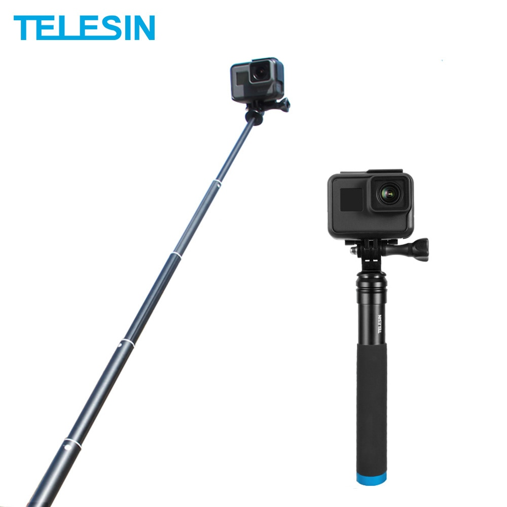 TELESIN Aluminum Alloy Extendable Handheld Selfie Stick Telescoping Pole for GoPro Hero 9 8 7 6 5 OSMO Action Xiaoyi SJCAM Eken