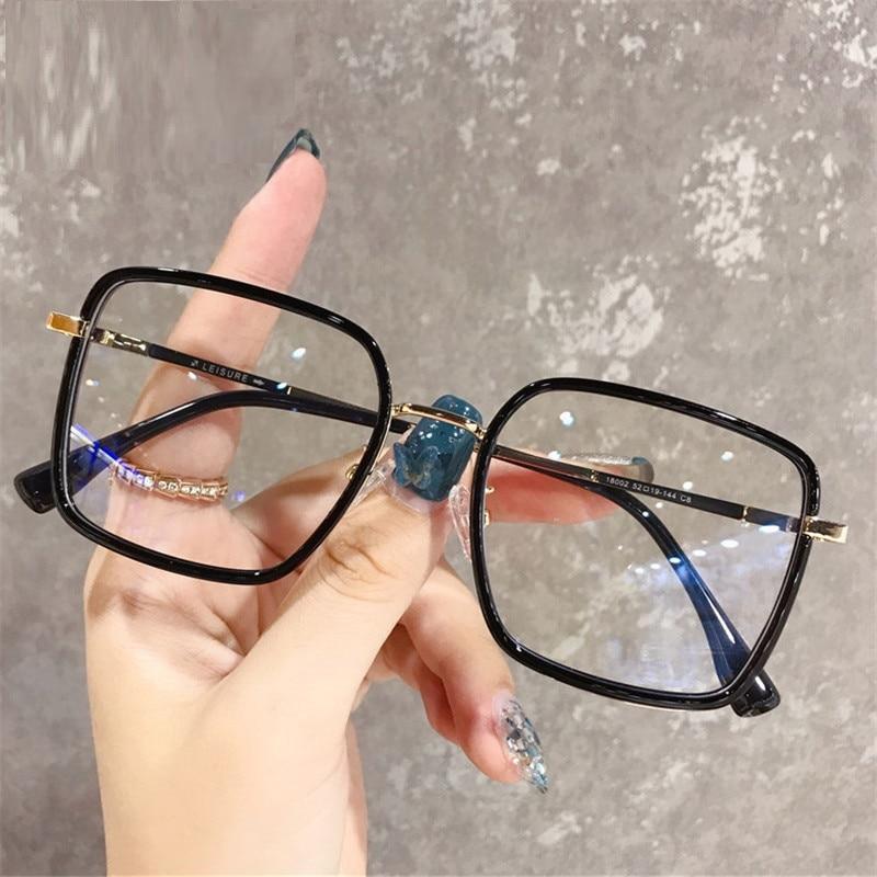 Big Frame Square Anti Blue Light Glasses Women Oversized Computer Eyewear Frame For Women Men Square