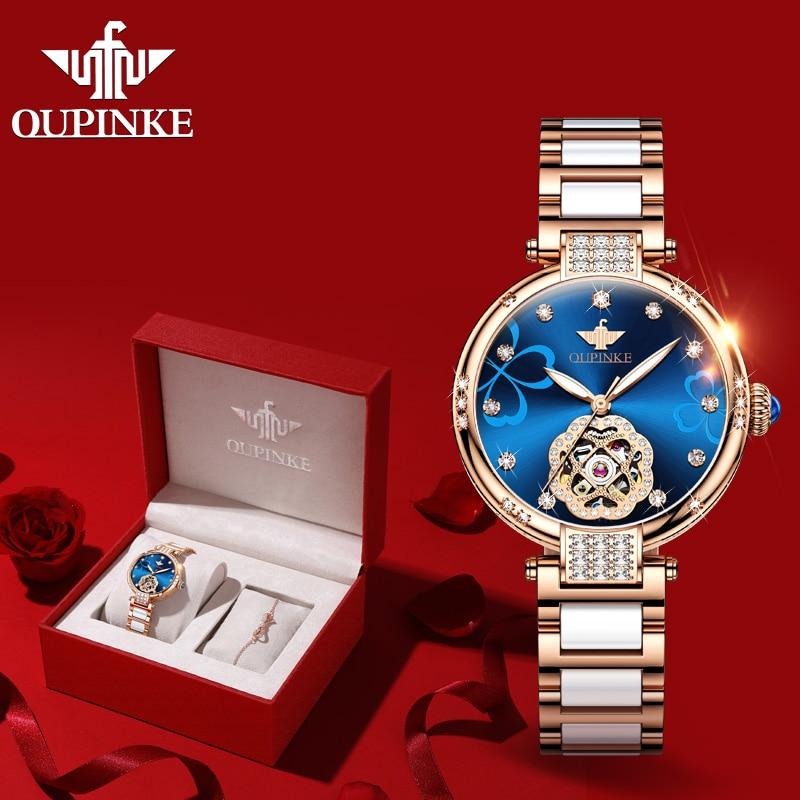 2020 New OUPINKE Women Watches Luxury Brand Automatic Mechanical Watch Fashion Ceramic Strap Ladies Wrist Watch relogio feminino