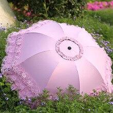 Ombrello soleggiato e piovoso per belle donne ombrellone estivo rivestimento nero ombrello Anti UV in pizzo 3 ombrello pieghevole
