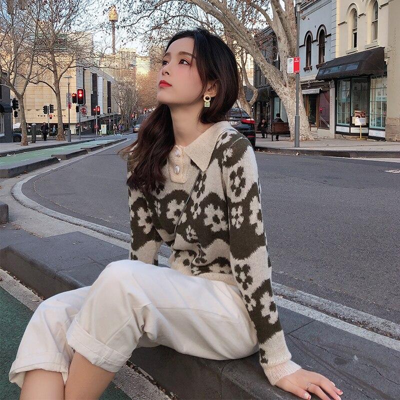 Mishow 2019 mujer Otoño Invierno Vintage Flare impreso suéter moda manga larga cuello vuelto tejido suéter MX19C5431