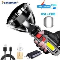 30000lumens led cob flashlight long range flashlight with built in battery usb flashlight lantern torch 4 modeswork light