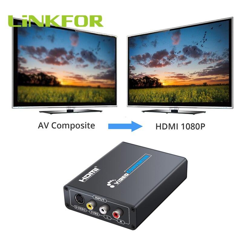 LiNKFOR 3RCA AV CVBS композитный s-видео R/L аудио к HDMI адаптер Upscaler 720 p/1080 p с 3RCA s-видео кабель для DVD VCR PS2 PS3