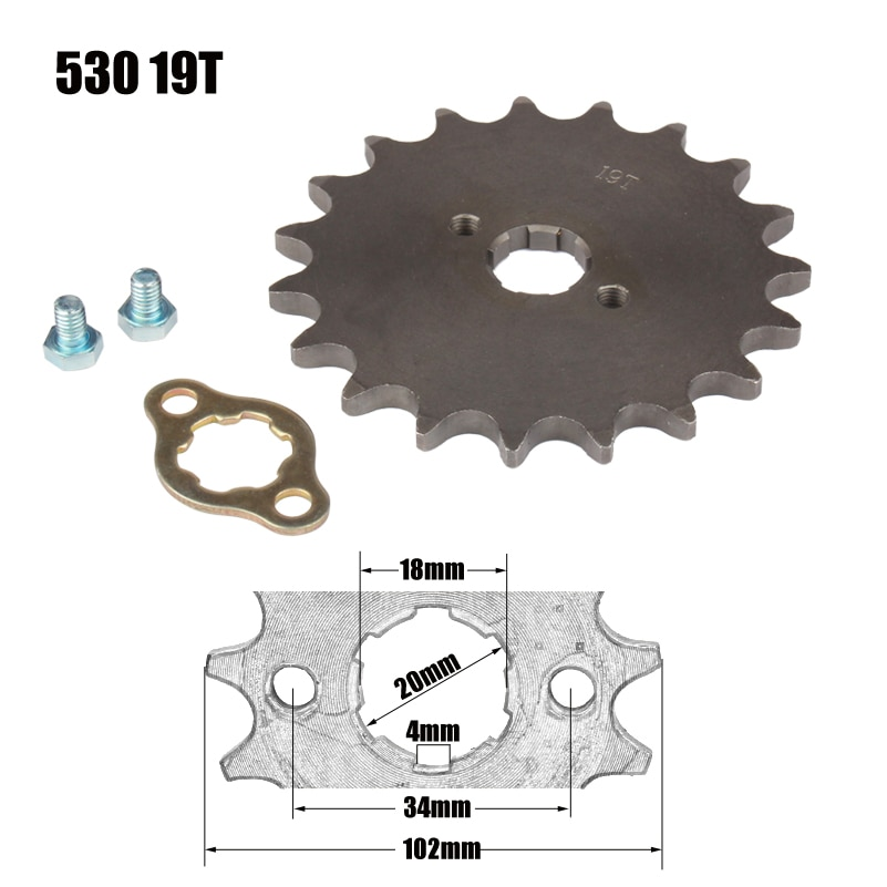 Roda dentada do motor dianteiro estrela 530 19 t 20mm para 530 corrente com armário da motocicleta bicicleta sujeira pitbike atv quad peças