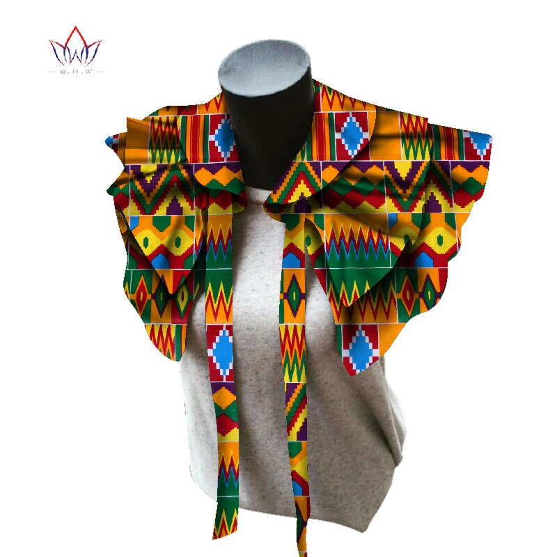 BRW 2020 tissu africain colliers pour femmes châle africain Chokers colliers imprimer Ankara Tribal à la main faux col WYB257